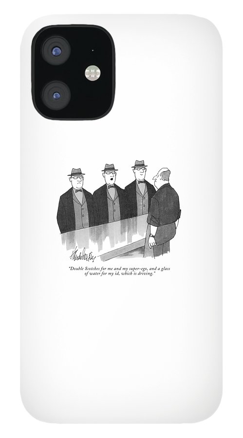 Superego IPhone 12 Case featuring the drawing Double Scotches For Me And My Super-ego, And A Glass by J. B. Handelsman
