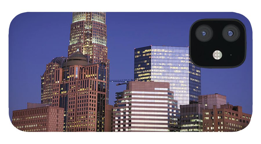 North Carolina iPhone 12 Case featuring the photograph Downtown Charlotte, Nc At Night by Jumper