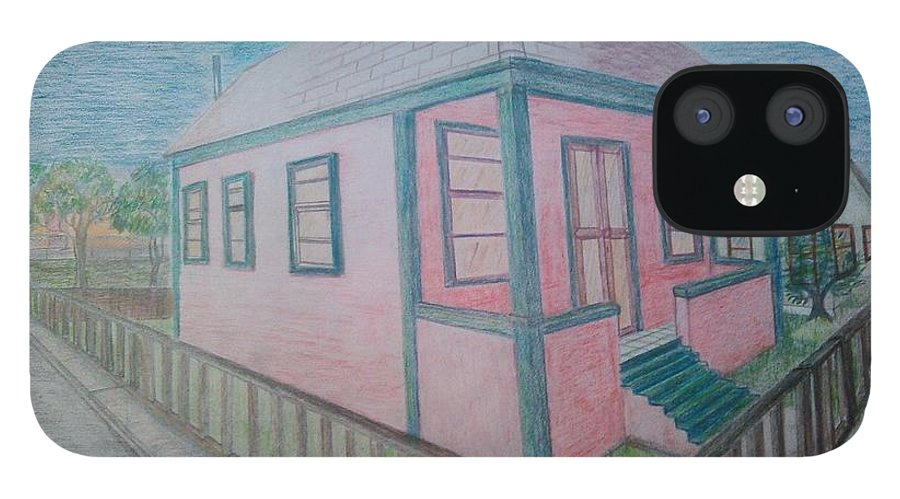Drawing By Andrew Johnson iPhone 12 Case featuring the drawing Dream Cottage by Andrew Johnson