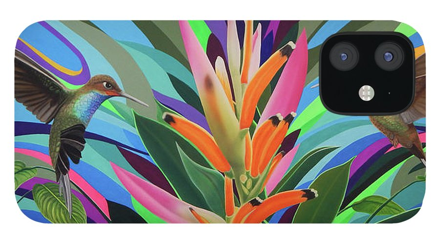 Hummingbird IPhone 12 Case featuring the painting Dream messenger 2 by Angel Ortiz