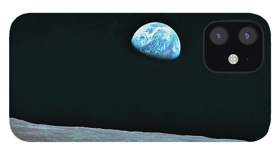 Black Color IPhone 12 Case featuring the photograph Earth And Lunar Landscape by Digital Vision.