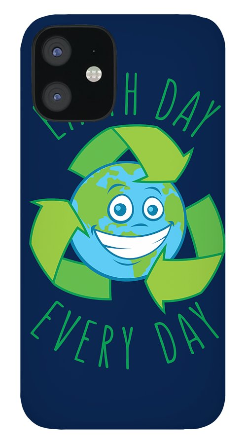 Green IPhone 12 Case featuring the digital art Earth Day Every Day Recycle Cartoon by John Schwegel