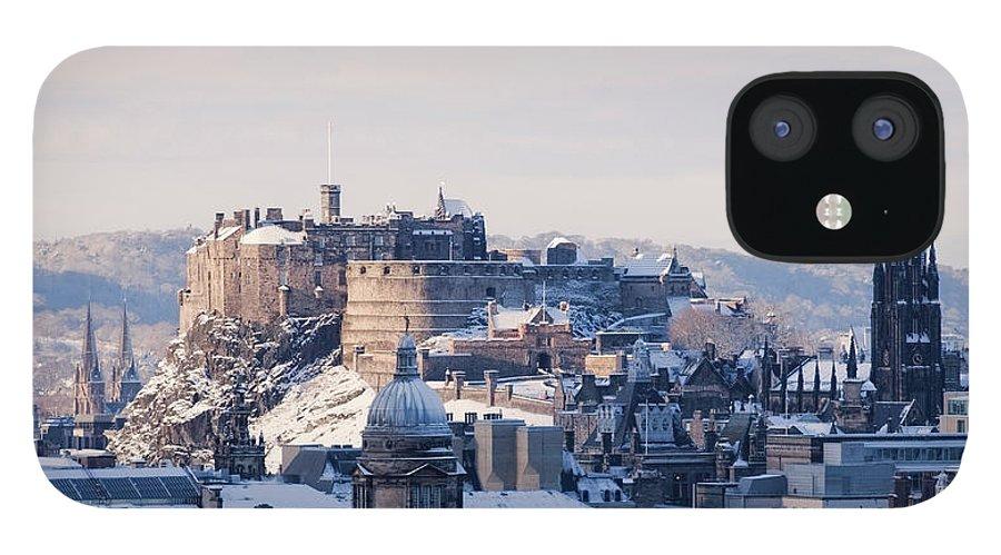 Snow IPhone 12 Case featuring the photograph Edinburgh Castle by Davidhills