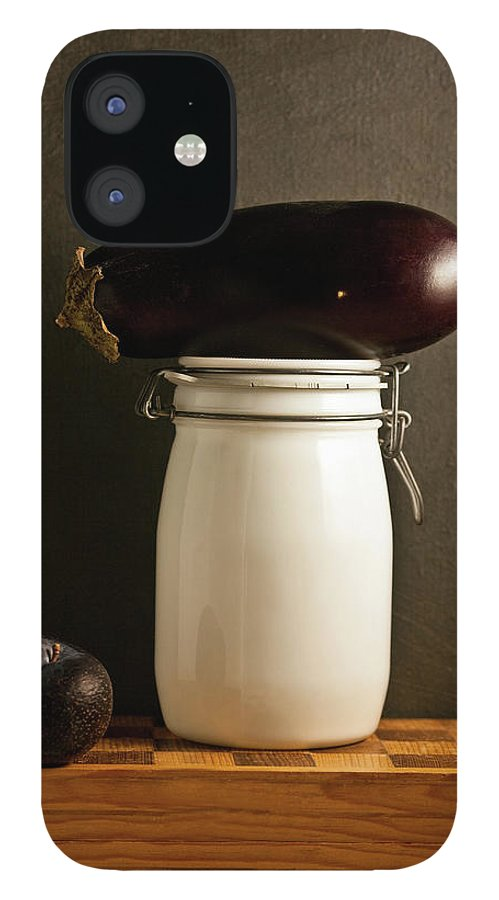 Plum IPhone 12 Case featuring the photograph Eggplant, Plum And Jar Still Life by Marilyn Conway