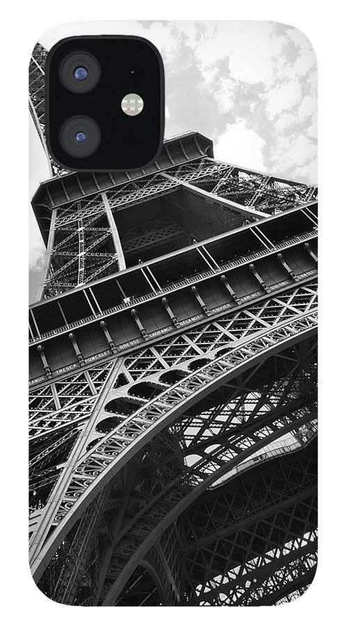 Black Color IPhone 12 Case featuring the photograph Eiffel Tower In Black And White by Sarah8000
