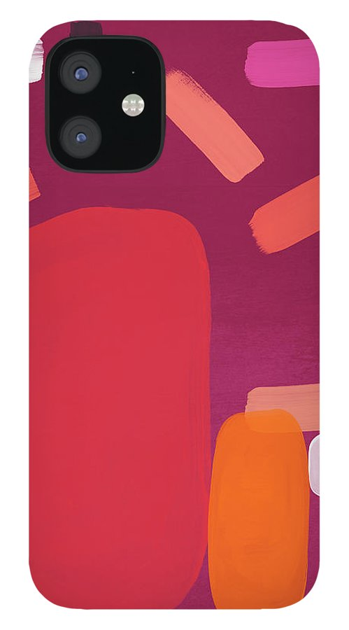 Abstract IPhone 12 Case featuring the mixed media Elation 5- Abstract Art by Linda Woods by Linda Woods