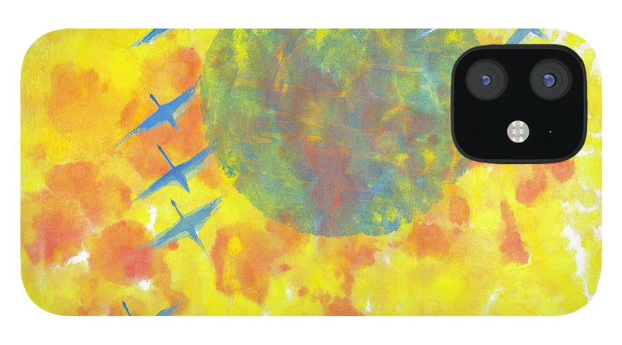 A Journey Through Time Depicted With Watercolor On Rice Paper By Mui-joo Wee In Simple Contemporary Brush Strokes IPhone 12 Case featuring the painting An Enduring Journey II by Mui-Joo Wee