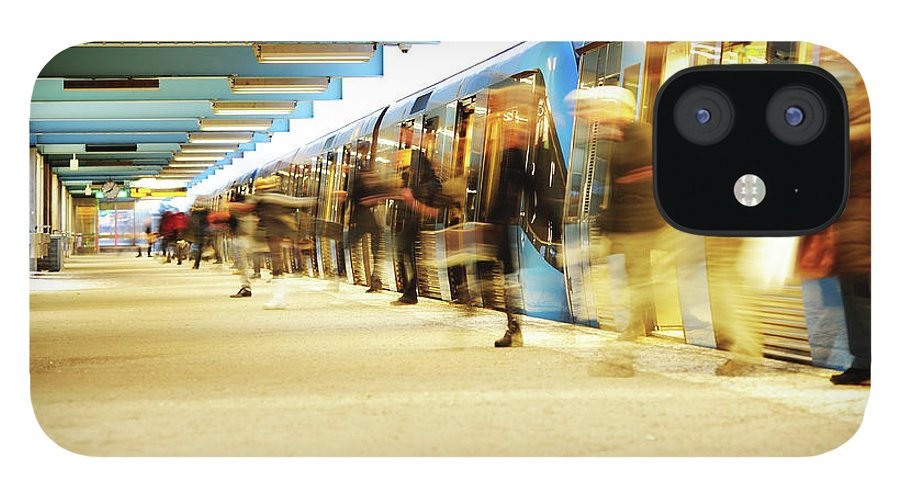 Crowd IPhone 12 Case featuring the photograph Exiting Subway Train by Olaser