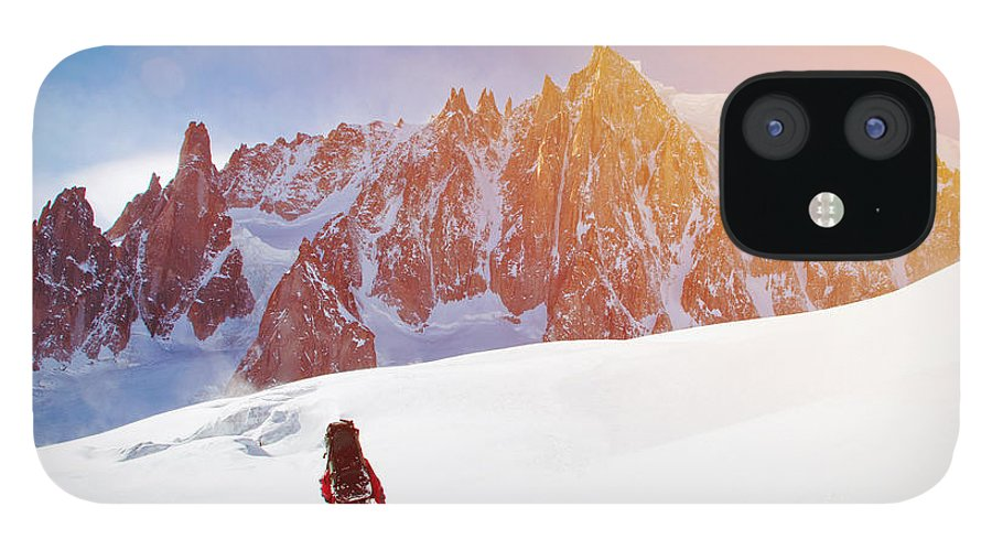 Altitude IPhone 12 Case featuring the photograph Extreme Sport Lone Hikers In Winter by Vixit