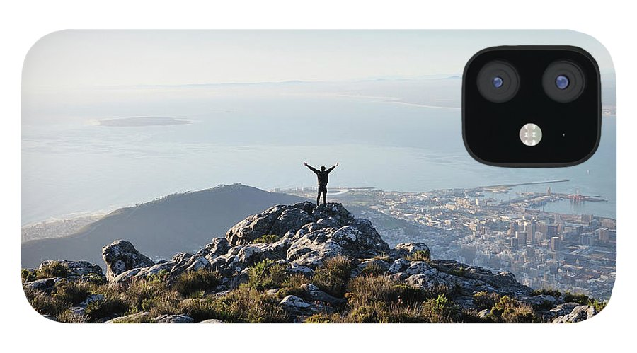 Scenics IPhone 12 Case featuring the photograph Exuberant Man On Top Of Table Mountain by David Malan