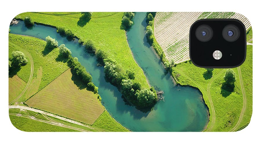 Scenics IPhone 12 Case featuring the photograph Farmland Patchwork, Aerial View by Vpopovic