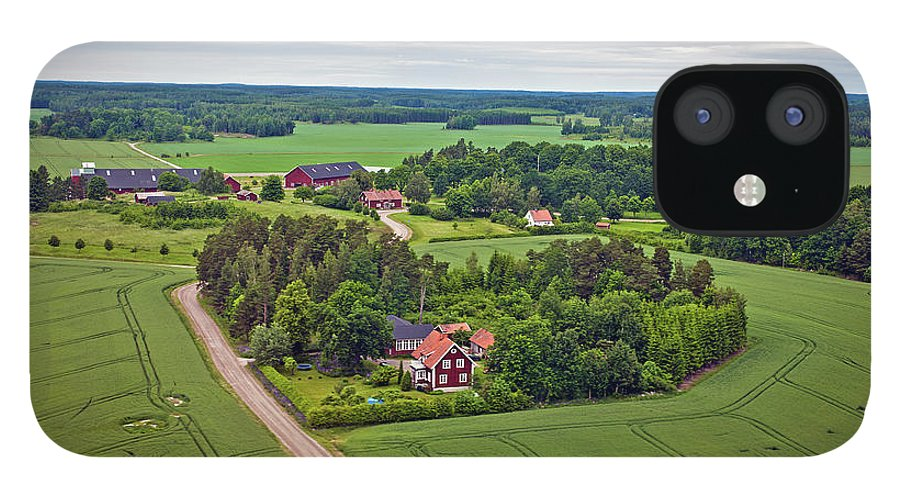 Scenics iPhone 12 Case featuring the photograph Farms And Fields In Sweden North Europe by Pavliha
