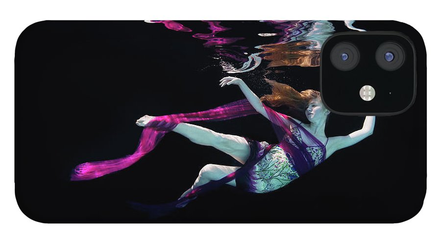 Underwater IPhone 12 Case featuring the photograph Female Dancer Floating Underwater by Thomas Barwick