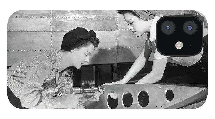 Working IPhone 12 Case featuring the photograph Female Workers Working On Plane by George Marks