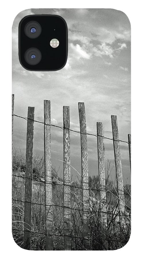 Tranquility iPhone 12 Case featuring the photograph Fence At Jones Beach State Park. New by Gary Koutsoubis