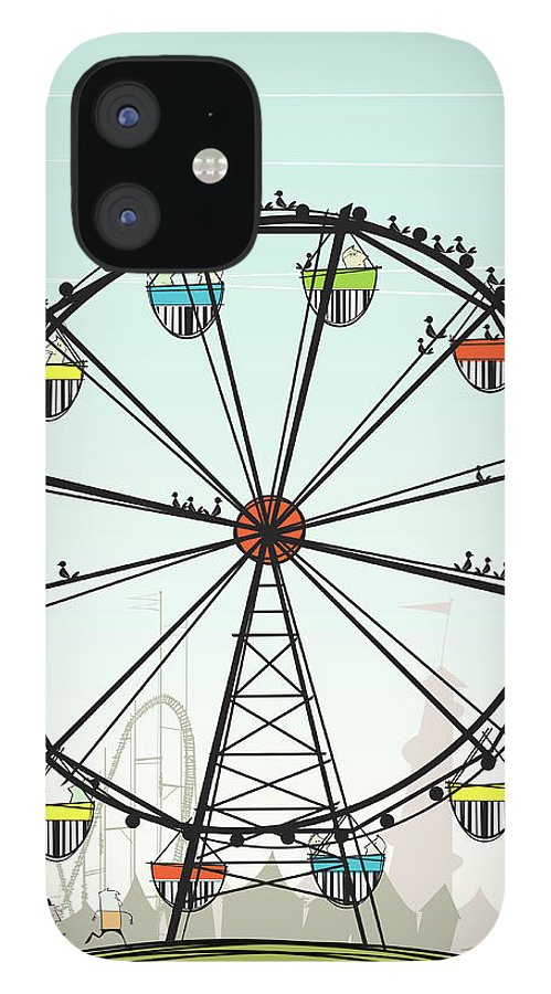 Grass IPhone 12 Case featuring the digital art Ferris Wheel by Jcgwakefield