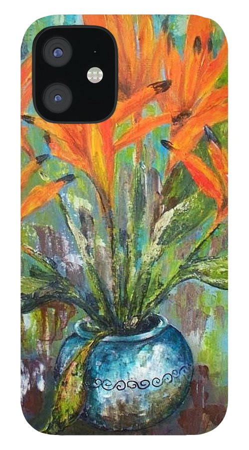 IPhone 12 Case featuring the painting Fire by Carol P Kingsley
