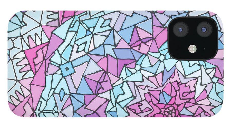 Mandala iPhone 12 Case featuring the digital art Comfortably Cosmic, in Lavendar by James Fryer