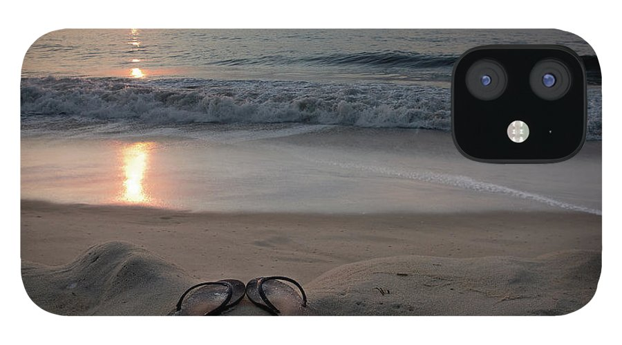 Water's Edge IPhone 12 Case featuring the photograph Flip-flops On The Beach by Sdominick