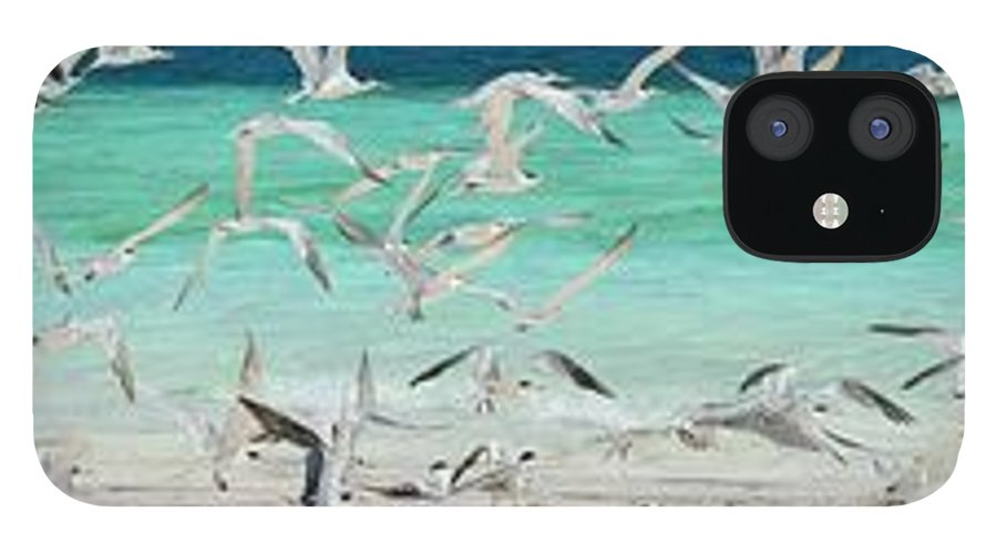 Scenics iPhone 12 Case featuring the photograph Flock Of Seagulls By Azure Beach by Christopher Leggett