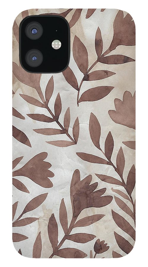 Brown IPhone 12 Case featuring the painting Flowing Flowers by Elaine Jackson