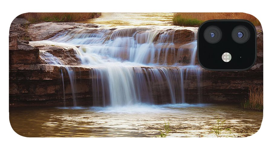 Scenics IPhone 12 Case featuring the photograph Flowing Water On The Yellow Rock by Xenotar