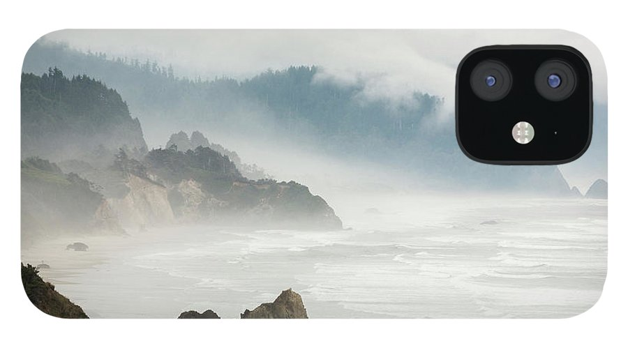 Scenics IPhone 12 Case featuring the photograph Fog Shrouded View Of Rocky Coastline by Win-initiative