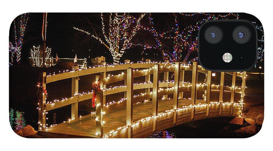 Footbridge IPhone 12 Case featuring the photograph Footbridge In Christmas Lights by Trevor Slauenwhite