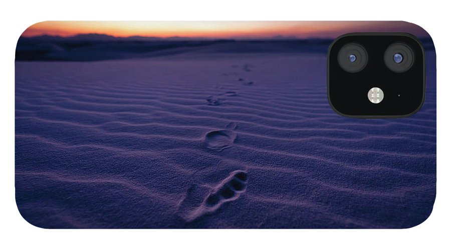 New Mexico IPhone 12 Case featuring the photograph Footprint On Dunes by Son Gallery - Wilson Lee
