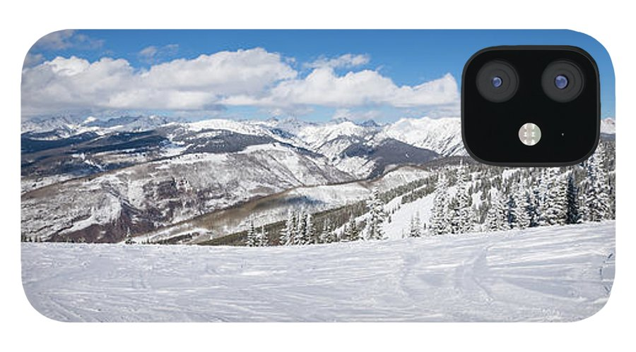 Scenics IPhone 12 Case featuring the photograph Forest Covered By Snow With Skiing by Miralex