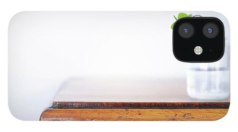 Vase IPhone 12 Case featuring the photograph Fourleaf Cloverin Vase On Dresser by Elisabeth Schmitt