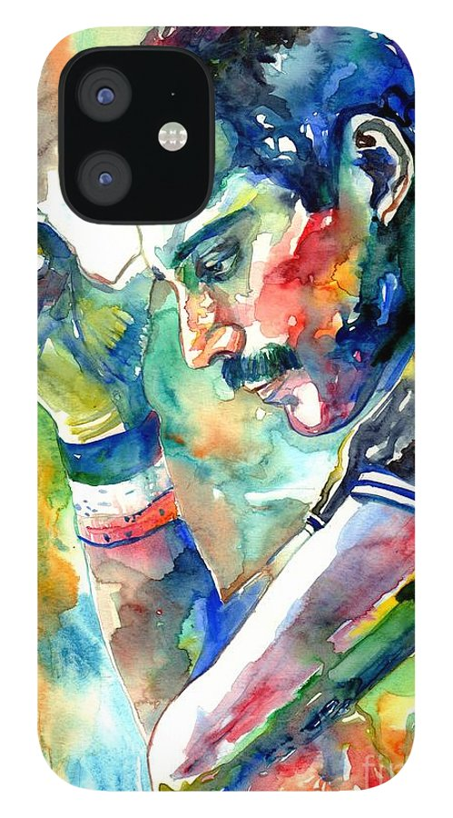 Freddie Mercury IPhone 12 Case featuring the painting Freddie Mercury With Cigarette by Suzann Sines