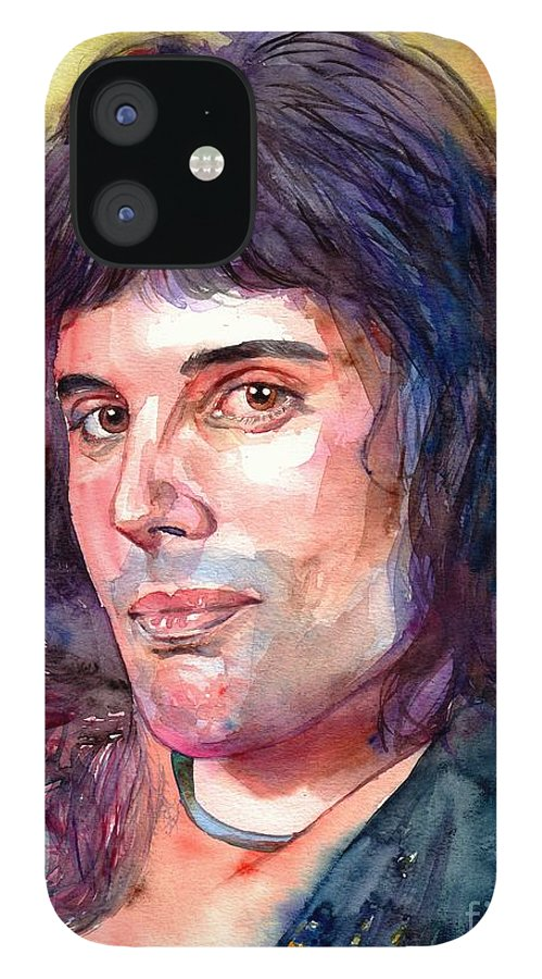 Freddie Mercury IPhone 12 Case featuring the painting Freddie Mercury young by Suzann Sines