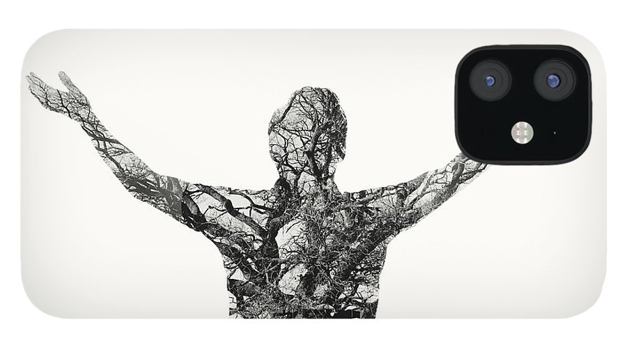 People IPhone 12 Case featuring the photograph Freedom - Double Exposure Man With Tree by Themacx
