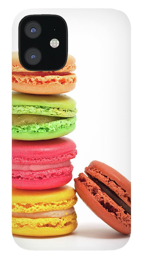 White Background IPhone 12 Case featuring the photograph French Macaroons by Ursula Alter