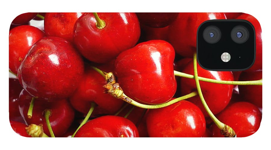 Cherry IPhone 12 Case featuring the photograph Fresh Red Cherries by Vienna Mornings