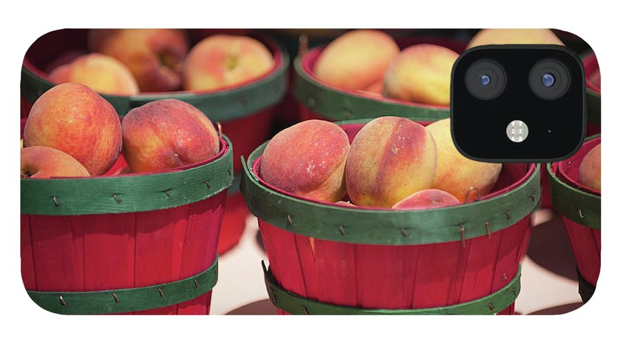 Retail IPhone 12 Case featuring the photograph Fresh Texas Peaches In Colorful Baskets by Txphotoblog - Randy Ennis
