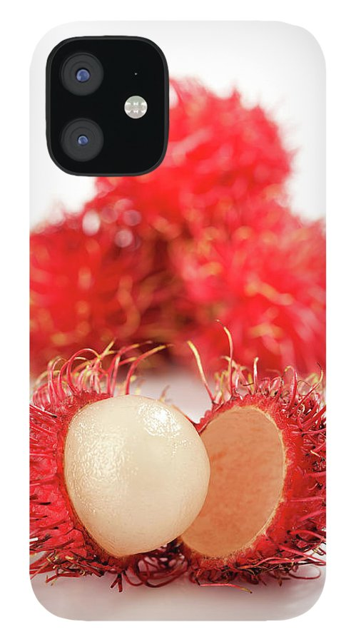 Raw Food Diet IPhone 12 Case featuring the photograph Fresh Thai Rambutans by Enviromantic