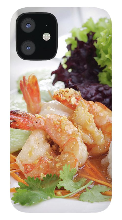 Thai Food iPhone 12 Case featuring the photograph Fried Shrimps With Garlic by Shyman