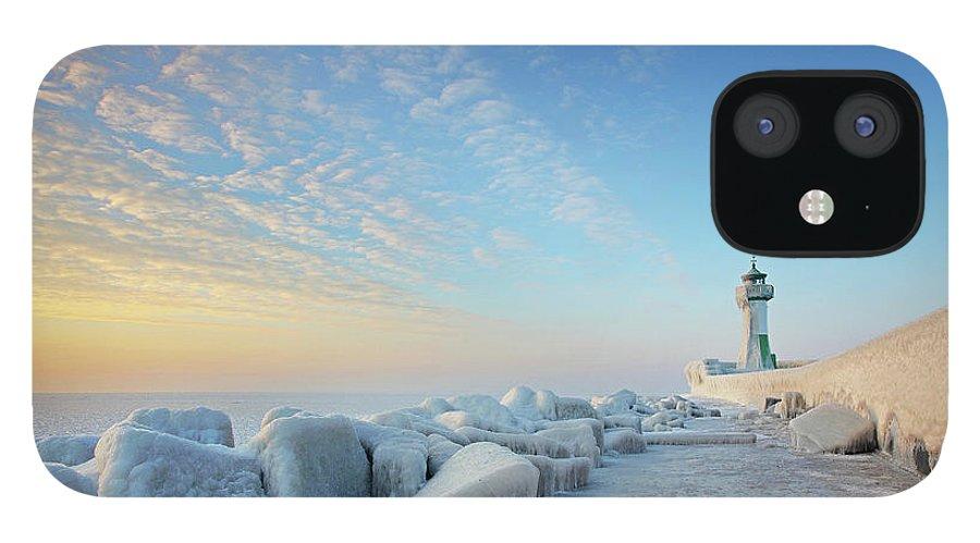 Dawn iPhone 12 Case featuring the photograph Frozen Lighthouse by Sandra Kreuzinger