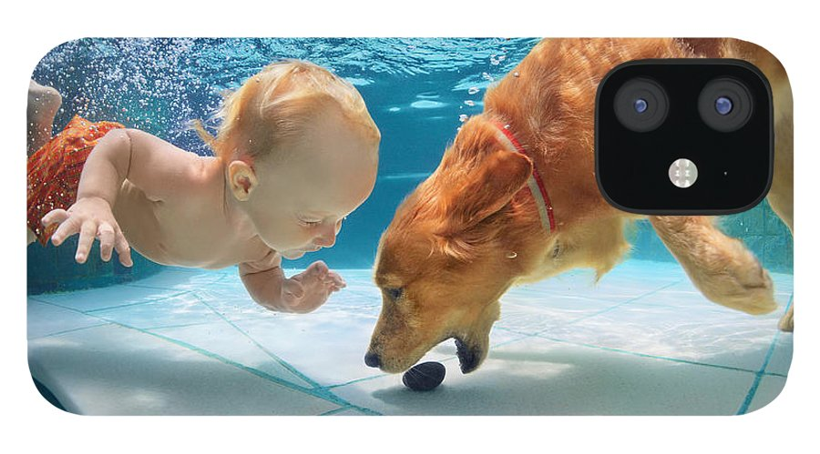 Pets IPhone 12 Case featuring the photograph Funny Little Child Play With Fun by Tropical Studio