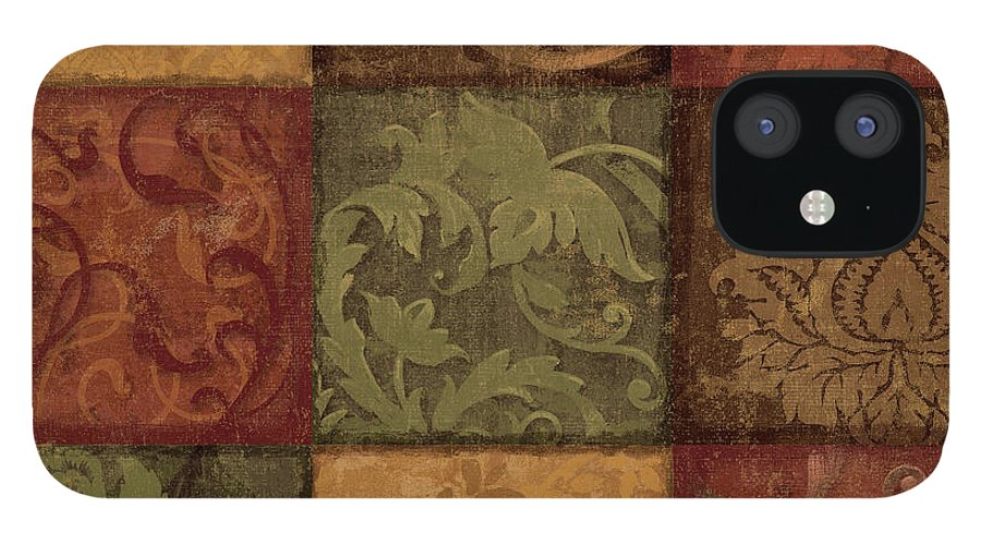 Scroll IPhone 12 Case featuring the painting Garden Gate II by Sparx Studio