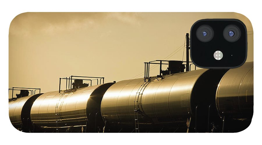 Natural Gas IPhone 12 Case featuring the photograph Gasoline Train At Sunset by Halbergman