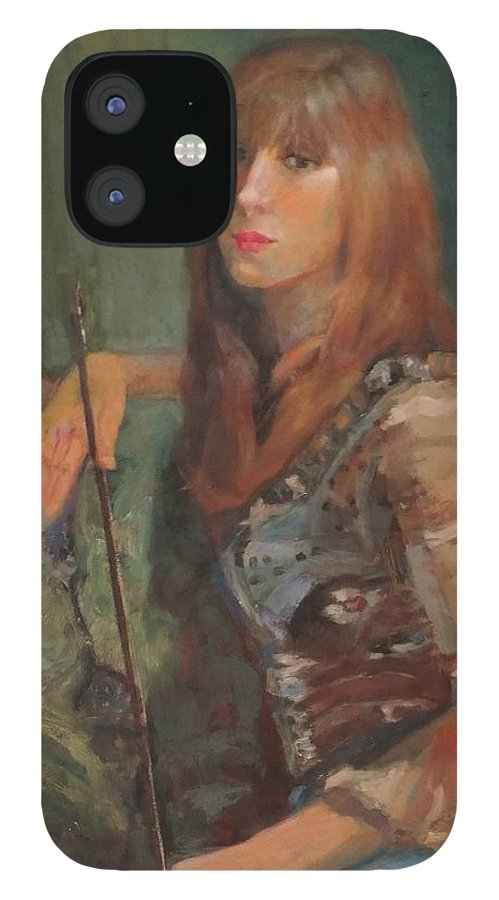 Girl IPhone 12 Case featuring the painting Girl With Bow by Irena Jablonski