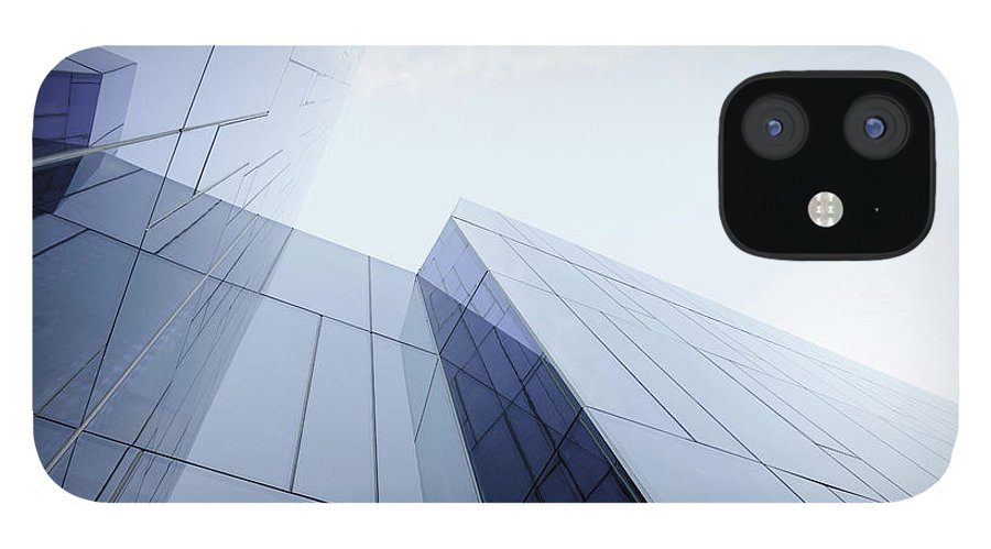 Architectural Feature IPhone 12 Case featuring the photograph Glass And Steel Office Building by Crossbrain66