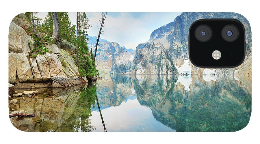 Tranquility IPhone 12 Case featuring the photograph Goat Lake On Cloudy Day In Sawtooth by Anna Gorin