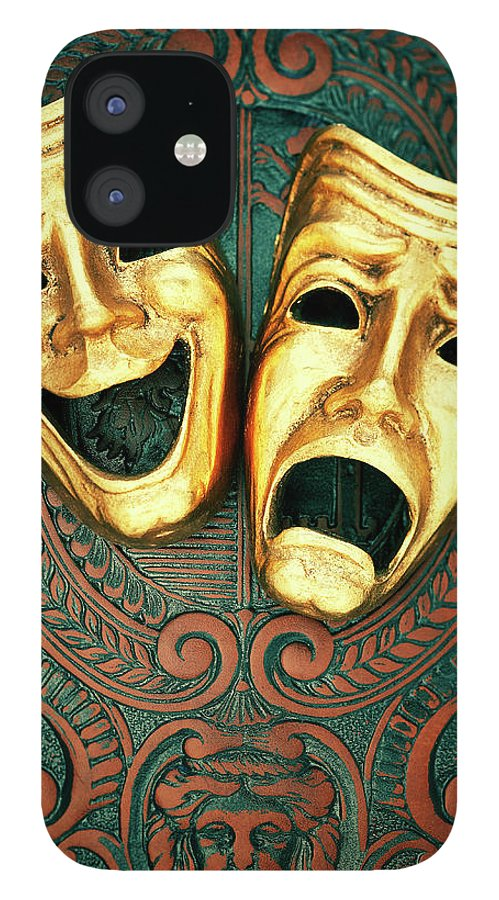 Leather IPhone 12 Case featuring the photograph Golden Comedy And Tragedy Masks On by David Muir