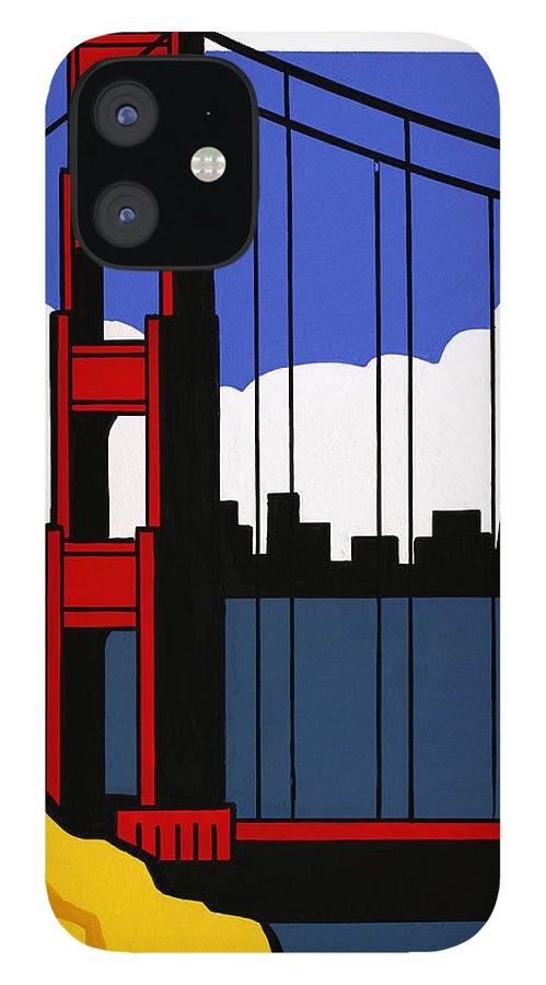 Gouache iPhone 12 Case featuring the digital art Golden Gate Bridge, San Francisco by Matt Olson