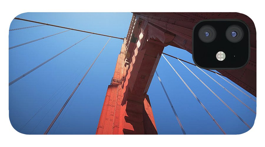 San Francisco IPhone 12 Case featuring the photograph Golden Gate Bridge Tower by Mortonphotographic