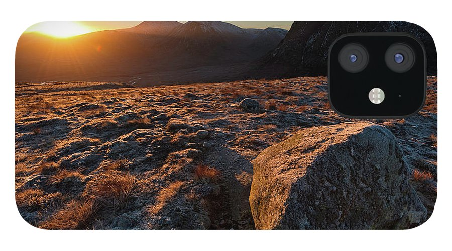 Rannoch Moor IPhone 12 Case featuring the photograph Golden Highland Dawn Glencoe Mountain by Fotovoyager